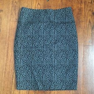 The Loft teal leaf print pencil skirt